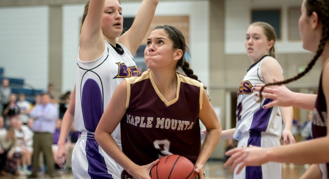 Maple Mountain High School Girls Varsity Basketball falls to Box Elder High School 49-46