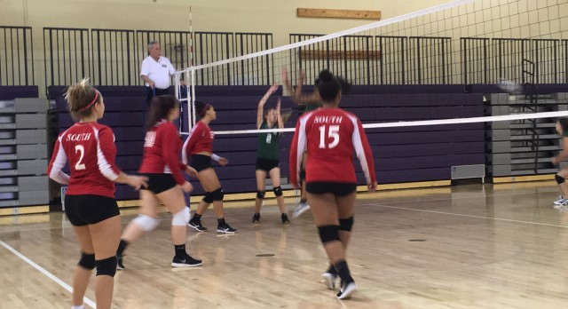 Omaha South High School Girls Freshman Volleyball beat Bryan High School 2-0