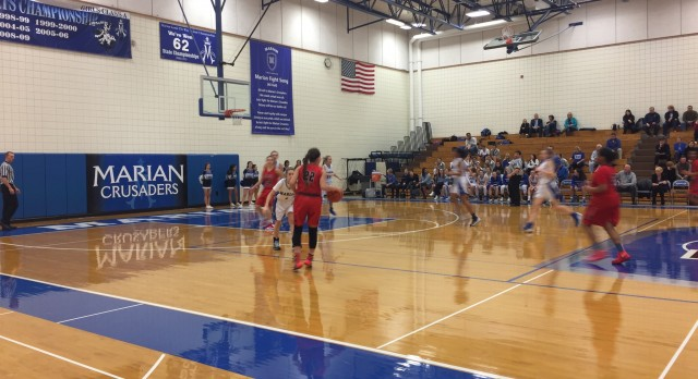 Omaha South High School Girls Varsity Basketball beat Marian High School 62-57
