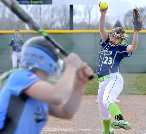 Ridgeline's Mailee Jensen pitches the ball to Sky View's Brinlee Hall in the fourth inning on Thursday.