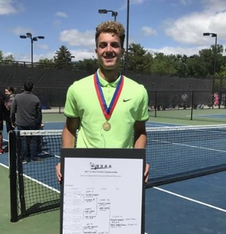 Jaxon Brenchley takes 3rd singles state championship and team takes 5th place at the 3A state tennis championship.