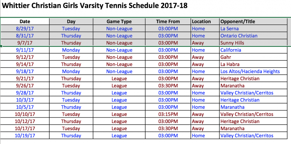 Herald Girls Tennis Schedule 2017