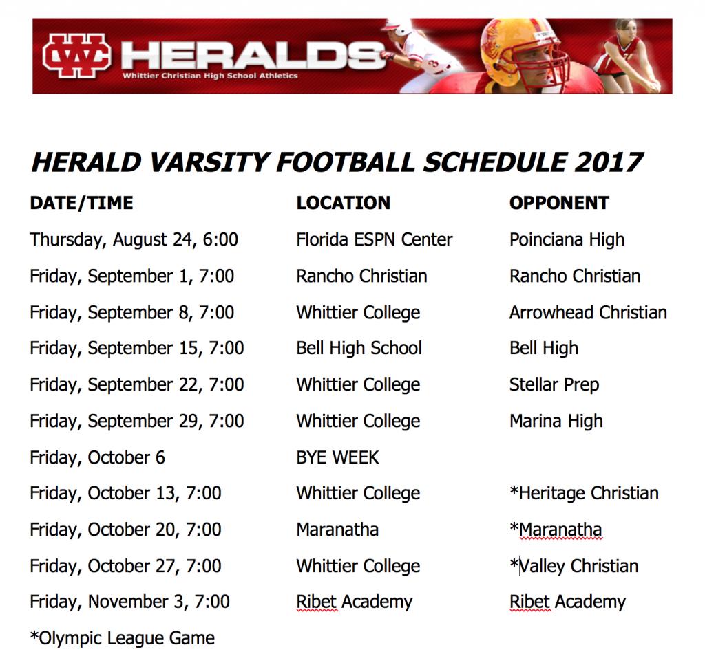 Herald Varsity Football Schedule 2017