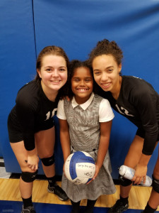 Senior Abigail Pray and Sophmore Caitlin Warnshuis with their new friend Leia