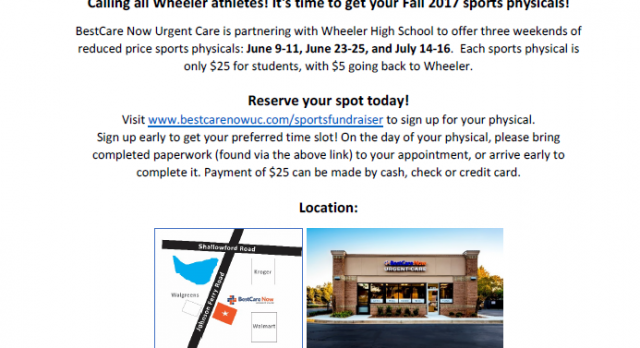 Summer Wheeler Sports Physical Fundraiser