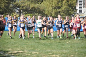 Abby and Cassidy at the 2016 State XC Meet starting line