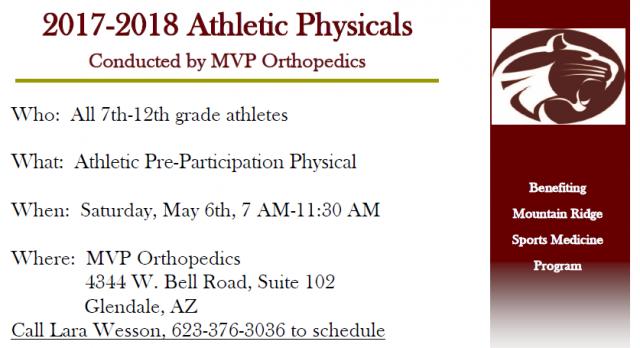 2017-2018 Athletic Physicals Dates