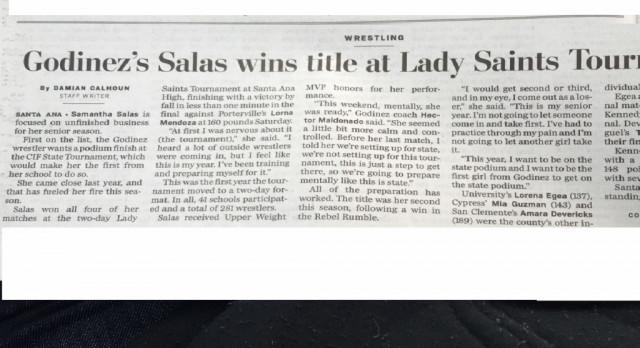 Samantha Salas WINS Wrestling Lady Saint Tourney Title!