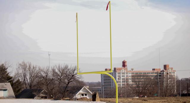 Northeast High school new football/soccer field takening shape. We got a goal post!!!!