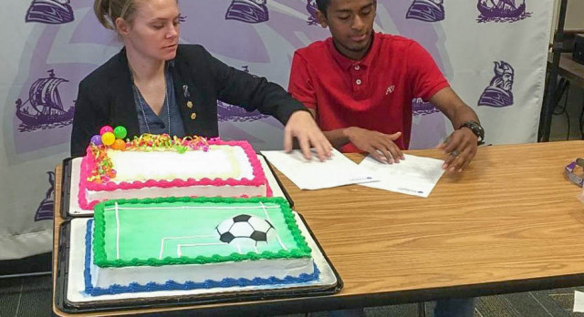 "Northeast Vikings Boys Soccer A DU BY  DAR ""Adrian"" signs with Rockhurst College to play soccer."