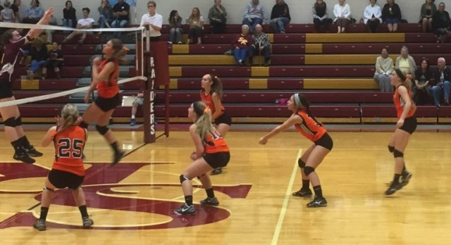 Springfield Local High School Girls Varsity Volleyball beat South Range High School 3-2