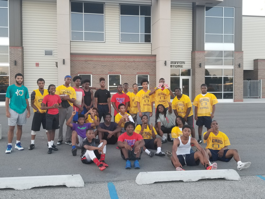 Football Knights after their 7 on 7 competition at MWSU.