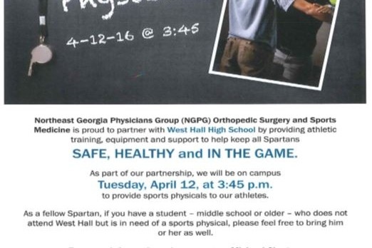 NGPG and West Hall High to offer Sports Physicals
