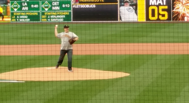 Indiana Graduate Lucas Chakot throws out first pitch at Pirate's game