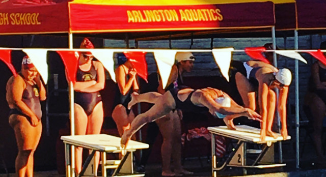 Arlington Girls' Swimming picks up first win of the season, 108 – 57 over Notre Dame on Thursday, 3/2.