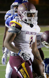 Arlington's Jamon McGlory (1) after scoring against Temescal Canyon in the second half of the non league game Friday in Lake Elsinore, CA. September 8, 2017. (TERRY PIERSON,THE PRESS-ENTERPRISE/SCNG)