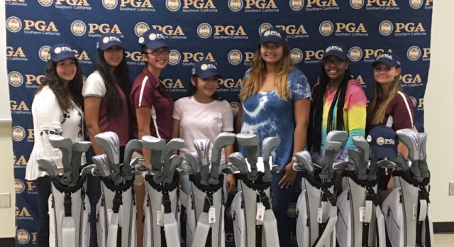 Arlington Girls' Golf receives wonderful gift from the Southern California Professionals Golfers Association on Tuesday, 10/17.