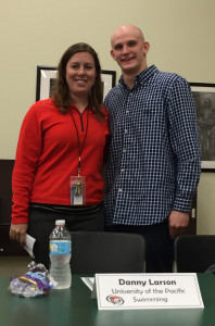 Danny Larson will be attending the University of the Pacific and swimming. He is pictured with Coach Heidi Hegwood.