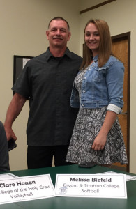 Melissa Biefeld will be attending Bryant Stratton College to play softball.