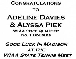 Congratulations Poster - Girls Tennis Doubles