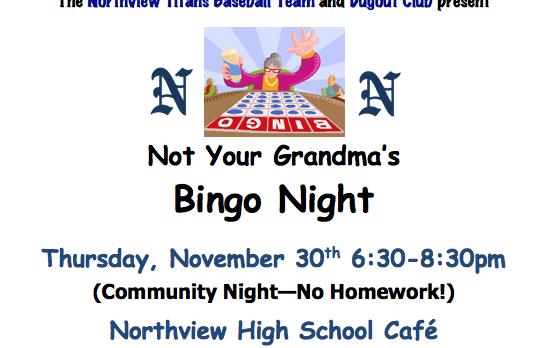 Baseball Fundraiser Thursday 11/30