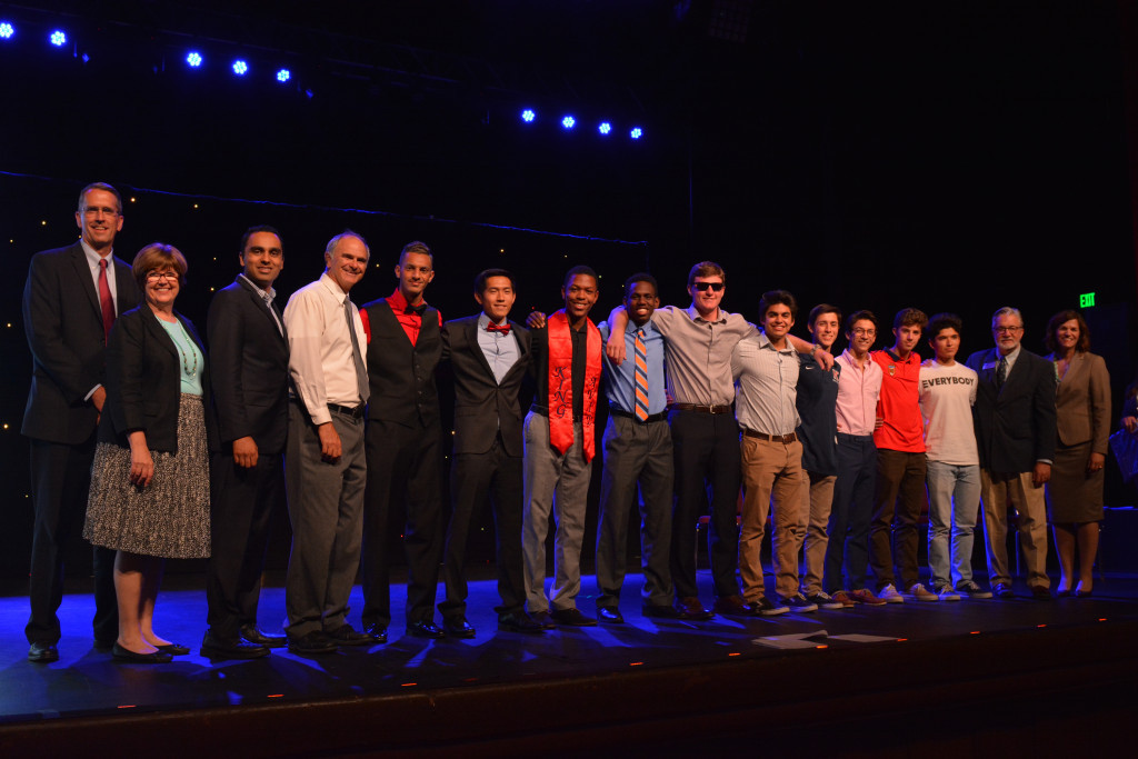 The boys track team is honored by the RUSD school board and Superintendent Dr. David Hansen on Tuesday, May 30, 2017