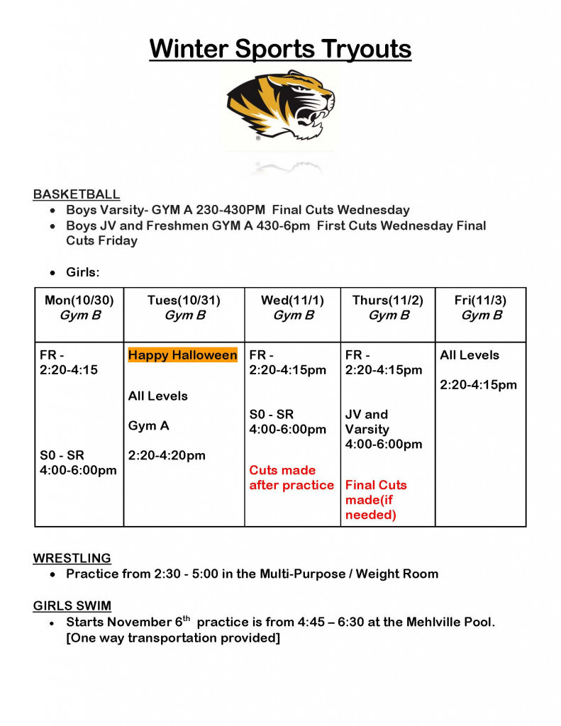Winter Sports Tryouts Details