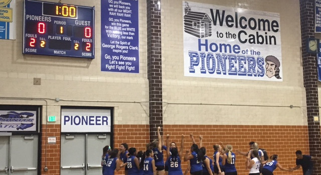 The Lady Pioneers Volleyball team wins in 5 sets over the HAST Lady Hawks