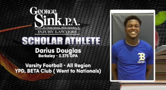 Congratulations to our own Darius Douglas Selected as Scholar Athlete