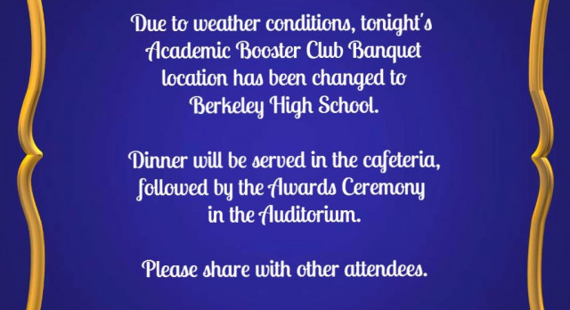 Academic Booster Club Banquet Location Change