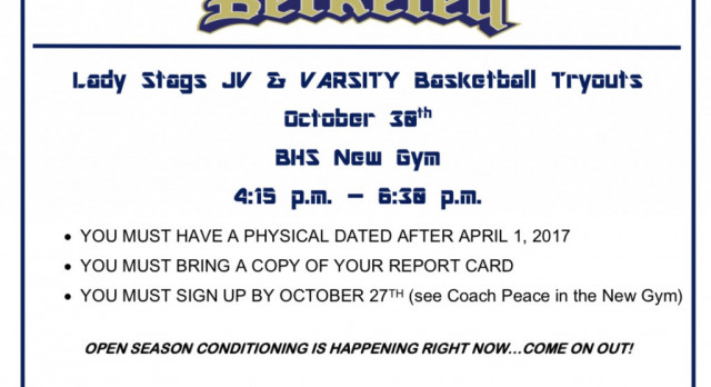 Lady Stags Basketball Tryouts