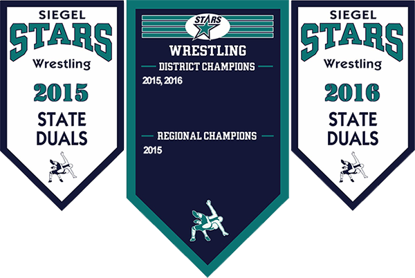 Siegel Wrestling Championship Banners. One of the top wrestling teams in Murfreesboro and Rutherford County.