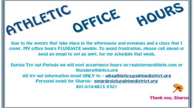 Athletic Office Hours