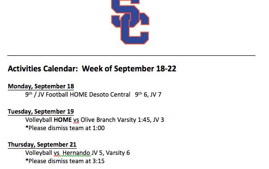 Schedule 9/18 – 9/22