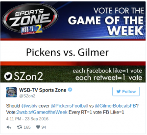 Game of the Week Which game should WSB TV cover WSB TV