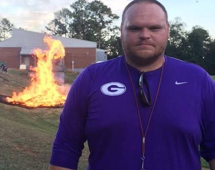 Coach Wingard Fires up the GHS Crowd at the Bonfire