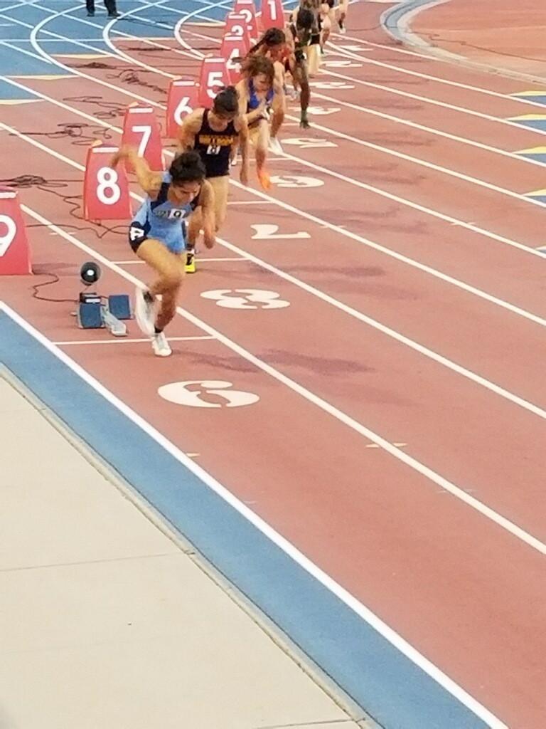 Malia Avila runs in State prelims and makes the finals in the 300 hurdles.