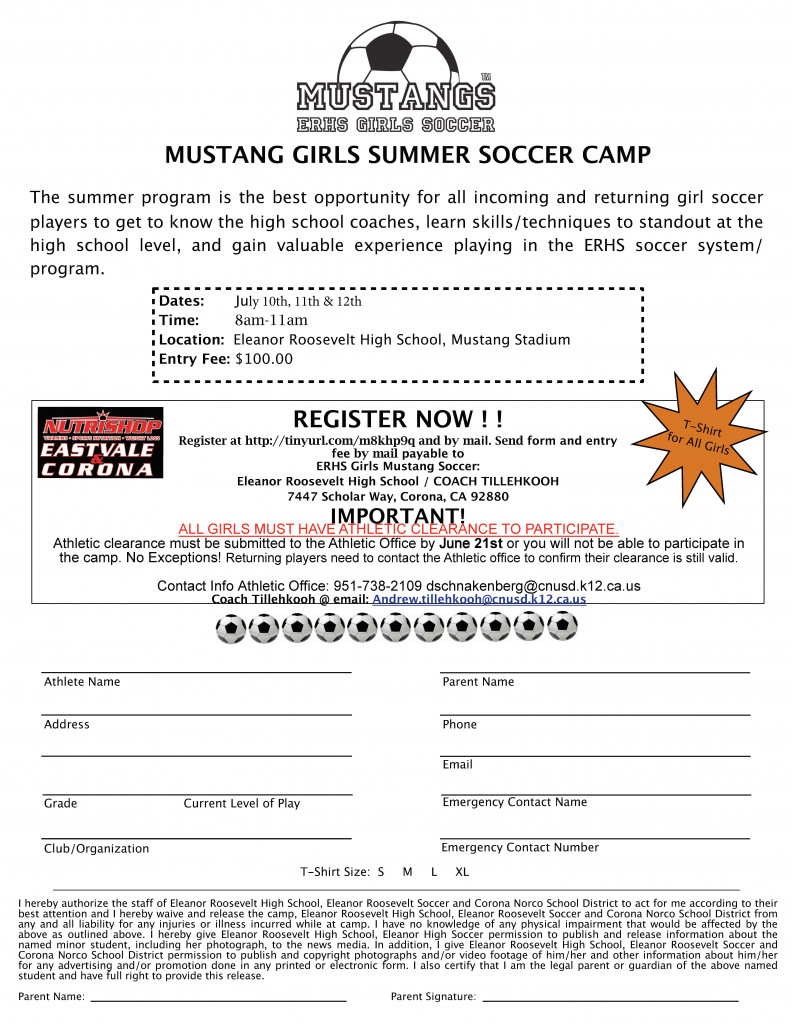 Girls Soccer Summer Camp Registration form 2017 - This is the home ...