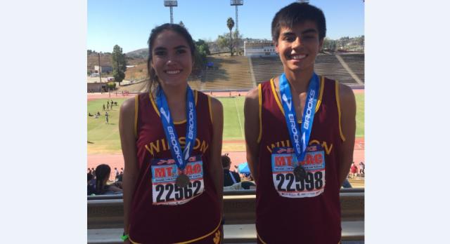 Jonathan Pfeiffer and Daniela De La Torre Medal at Mt. Sac Invitational