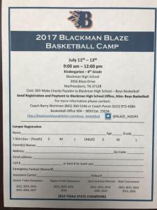 Blaze Basketball Camp Registration Form