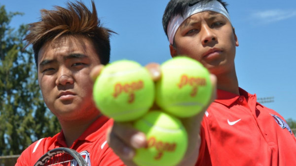 Fullerton Union High tennis players Terry Kang, left, and Kevin Chiang paired up for the playoffs last season and won the Freeway League doubles championship.