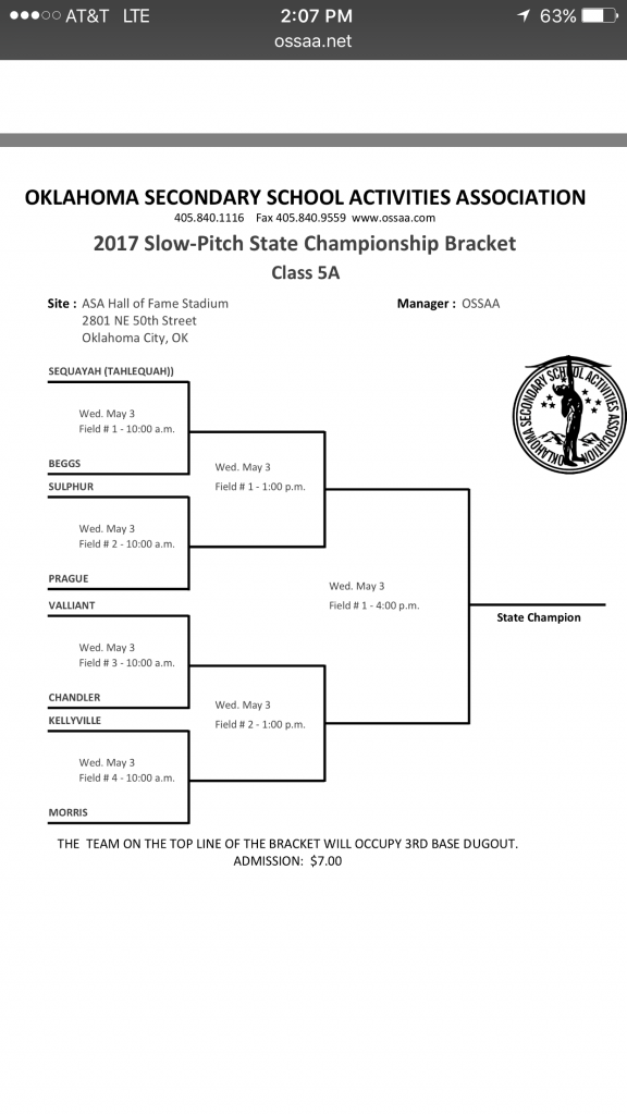 Slow Pitch Softball State Tournament Bracket - This is the home of ...