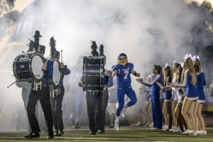 El Toro's Cooper Jones enters the field during a game at El Toro high school in Lake Forest on Friday, September 30, 2016. (Photo by Matt Masin, Orange County Register, SCNG)
