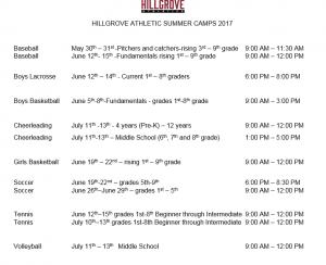 hillgrove summer camps 2017