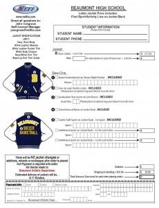 Letter Jacket Order Form