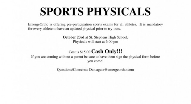 Physicals at Saint on Monday, October 23