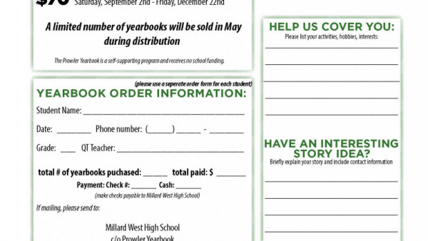 2018 Yearbook Sales Form