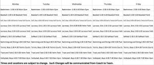Spring Practice Schedules