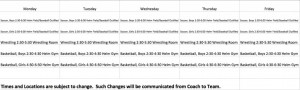 Winter Practice Schedules