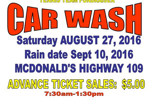 Tennis Team's Car Wash! August 27!